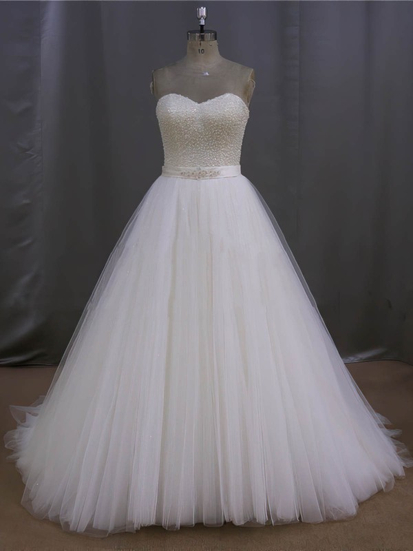 Ivory Tulle Sweetheart Pearl Detailing Lace-up Sweep Train Wedding Dress