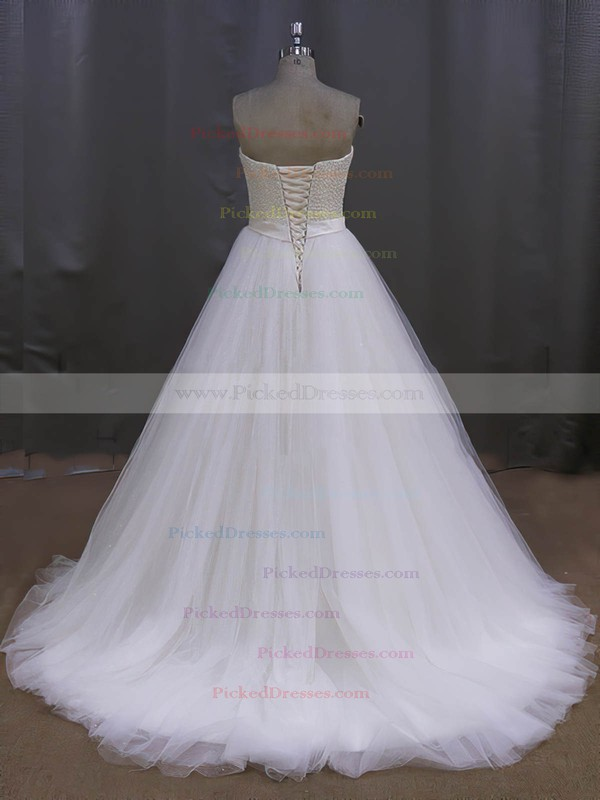 Ivory Tulle Sweetheart Pearl Detailing Lace-up Sweep Train Wedding Dress #PDS00022026