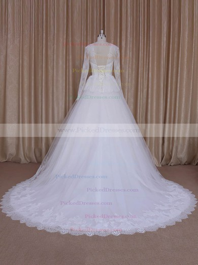 V-neck Appliques Lace Court Train Long Sleeve Ivory Lace Tulle Wedding Dresses #PDS00022027