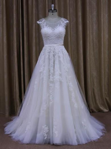 Sweep Train Cap Straps Tulle Appliques Lace Scoop Neck Ivory Wedding Dresses #PDS00022028