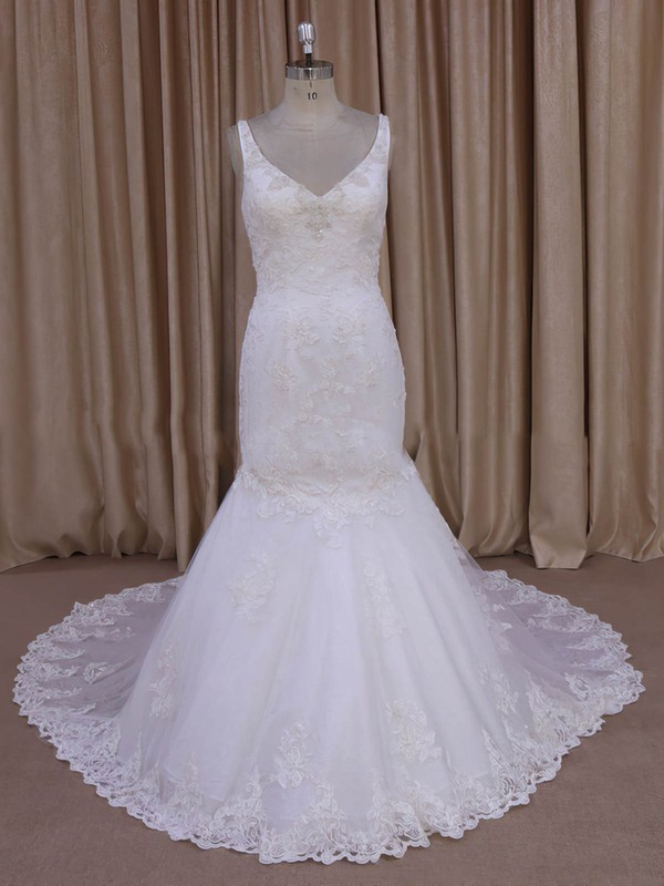 Trumpet/Mermaid Appliques Lace Ivory Tulle V-neck New Arrival Wedding Dress #PDS00022030