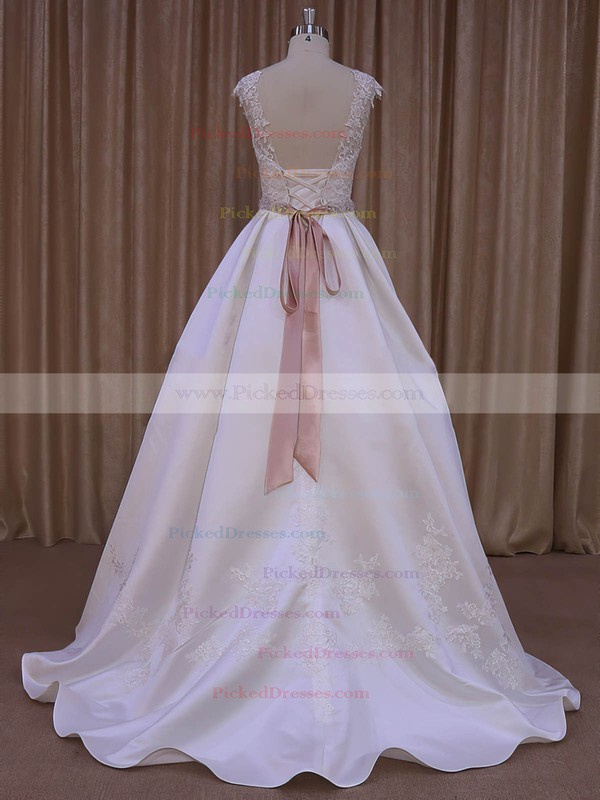 Ivory Satin Scoop Neck Lace-up Sweep Train Appliques Lace Wedding Dresses #PDS00022031