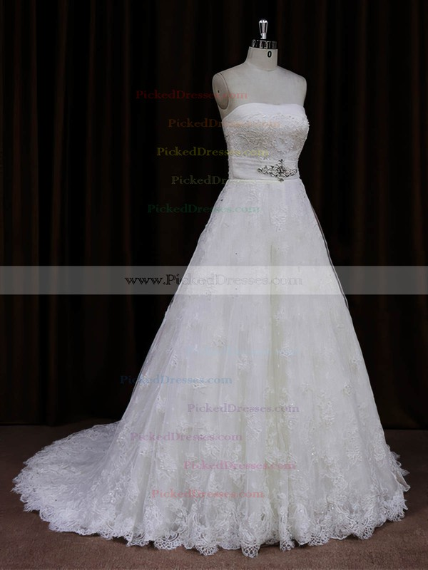 Ivory Lace Sashes/Ribbons Sweep Train Vintage Strapless Wedding Dresses #PDS00022032
