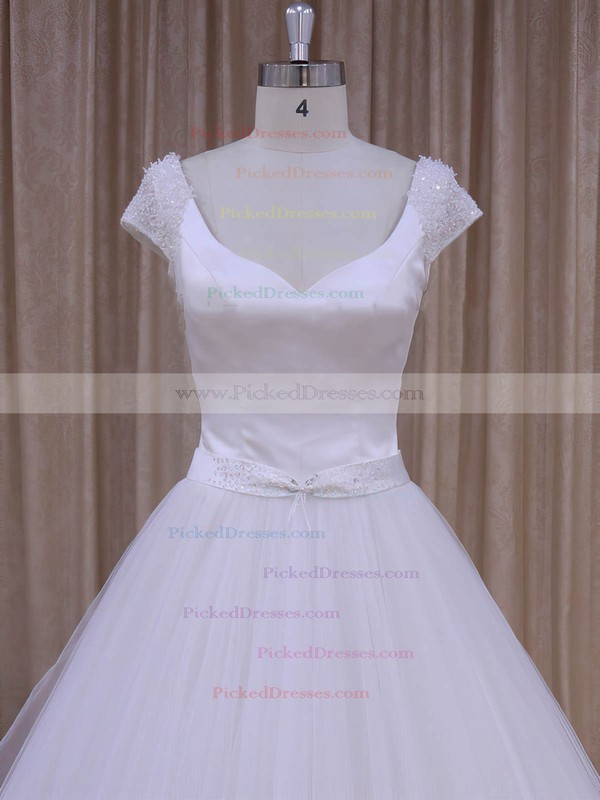 White Satin Tulle Beading Short Sleeve V-neck Open Back Wedding Dresses #PDS00022033