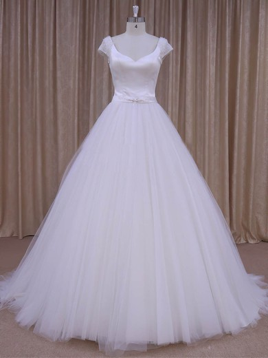 White Satin Tulle Beading Short Sleeve V-neck Open Back Wedding Dresses #PDS00022033