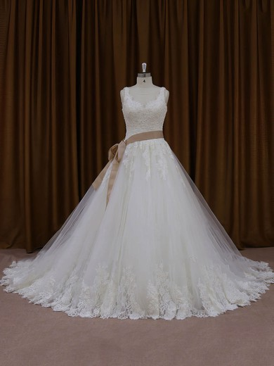 Modest Ivory Tulle Appliques Lace Chapel Train Ball Gown Wedding Dresses #PDS00022035