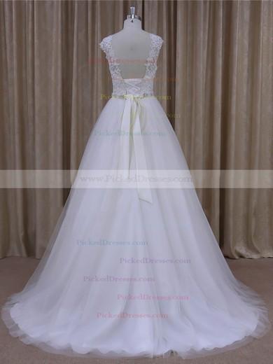 Open Back Scoop Neck Tulle Appliques Lace Cap Straps White Wedding Dresses #PDS00022036