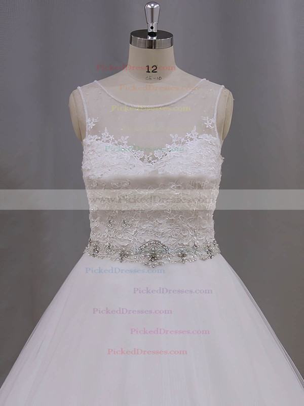 Beautiful Ivory Scoop Neck Tulle Appliques Lace Ball Gown Wedding Dresses #PDS00022038