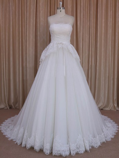 Princess Ivory Lace Tulle Sashes/Ribbons Strapless Pretty Wedding Dresses #PDS00022039