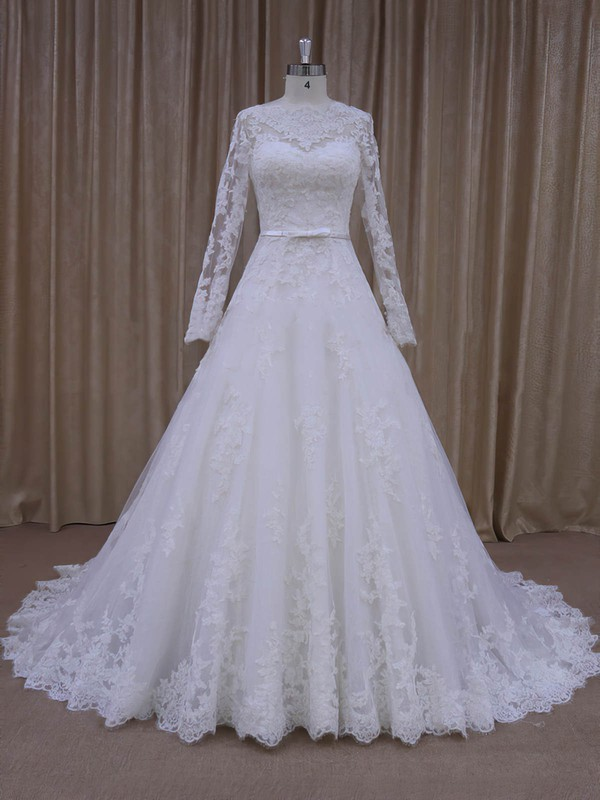 Fabulous Scalloped Neck Ivory Tulle Appliques Lace Long Sleeve Wedding Dresses #PDS00022040