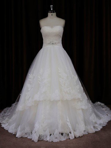 Sweetheart Ivory Princess Tulle Appliques Lace Designer Wedding Dresses #PDS00022041