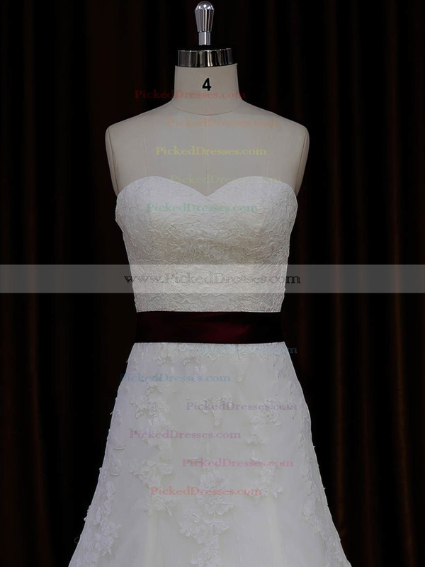 New Sweetheart Lace Tulle Sashes/Ribbons Ivory Cathedral Train Wedding Dresses #PDS00022042
