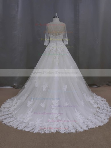 Ball Gown Scoop Neck Appliques Lace Ivory Tulle 3/4 Sleeve Wedding Dresses #PDS00022043