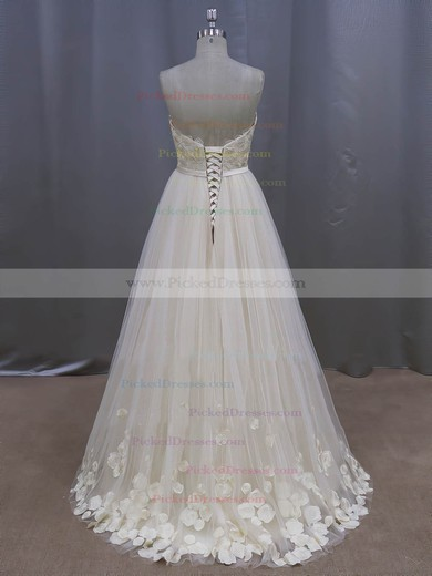 Tulle with Appliques Lace Ivory Sweep Train Lace-up New Arrival Wedding Dresses #PDS00022044