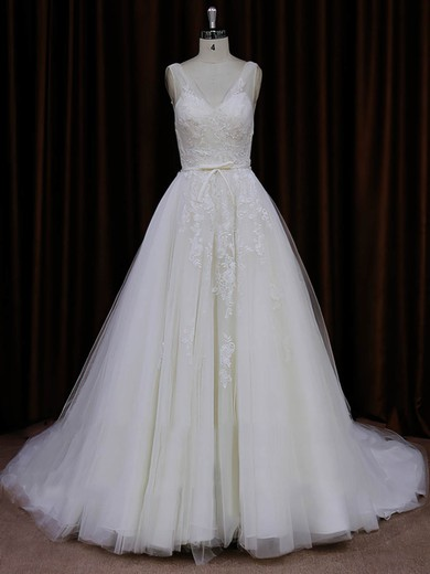 New Style Ivory Tulle Appliques Lace Chapel Train V-neck Wedding Dresses #PDS00022046