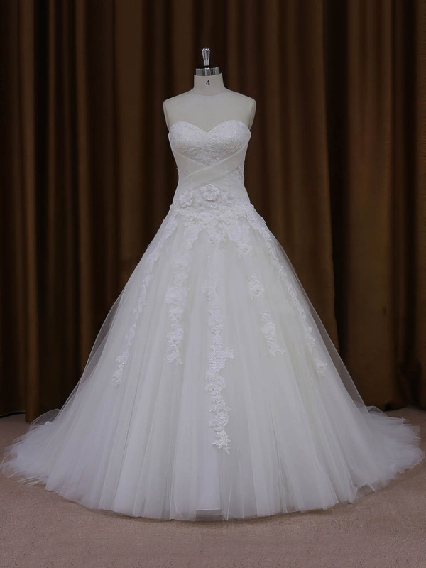 Ball Gown Tulle Appliques Lace Court Train Trendy Ivory Wedding Dresses