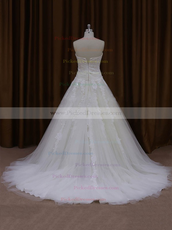 Ball Gown Tulle Appliques Lace Court Train Trendy Ivory Wedding Dresses #PDS00022047