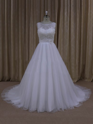 Scoop Neck Court Train Tulle Appliques Lace Ivory Popular Wedding Dresses #PDS00022048