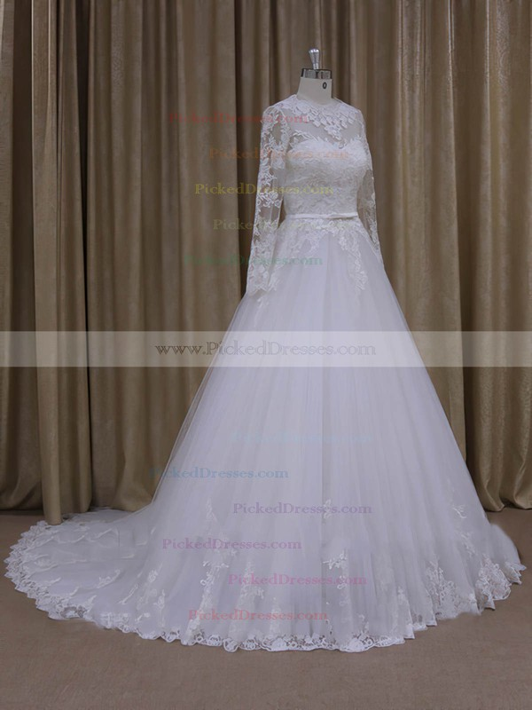 Chapel Train Scoop Neck Tulle Appliques Lace Ivory Long Sleeve Wedding Dresses #PDS00022050