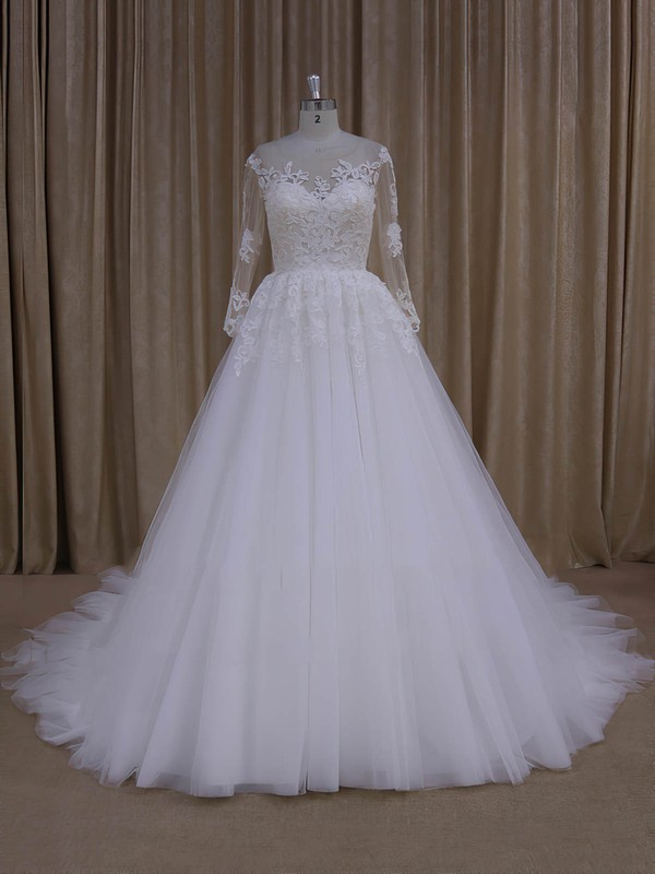 Long Sleeve Princes Ivory Tulle with Appliques Lace Gorgeous Wedding Dresses #PDS00022051