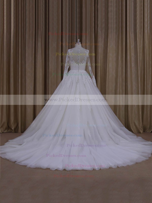 Tulle Appliques Lace Ball Gown Noble Ivory Long Sleeve Wedding Dresses #PDS00022054