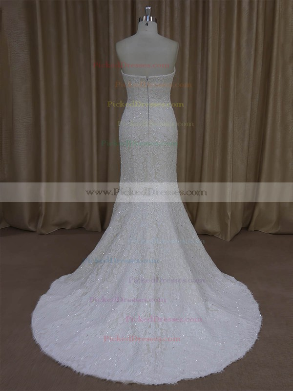 Trumpet/Mermaid Strapless Ivory Lace Beading Modern Wedding Dresses #PDS00022055