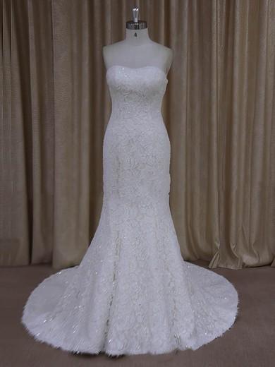 Trumpet/Mermaid Strapless Ivory Lace Beading Modern Wedding Dresses #PDS00022055