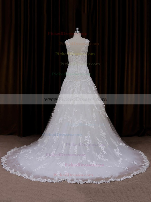 Online Sweetheart Tulle Appliques Lace Court Train Ivory Wedding Dresses #PDS00022057