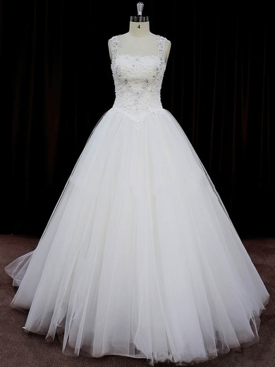 Court Train Ivory Tulle Appliques Lace Open Back Ball Gown Wedding Dresses #PDS00022058