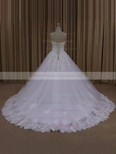 Discount Ball Gown Tulle Appliques Lace Ivory Strapless Wedding Dresses #PDS00022062