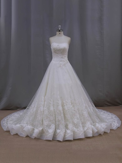 Chapel Train Ivory Lace Tulle Beading Affordable Strapless Wedding Dresses #PDS00022063