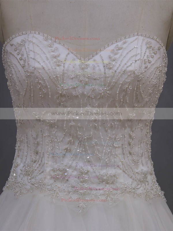 Tulle with Beading Court Train Ivory Sweetheart Beautiful Wedding Dresses #PDS00022064