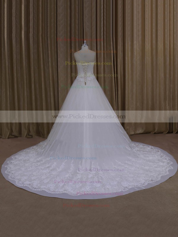 Elegant Strapless Ivory Tulle Appliques Lace Chapel Train Wedding Dresses #PDS00022065