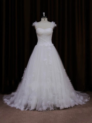 Tulle Sweetheart Appliques Lace Sweep Train Ivory Pretty Wedding Dresses #PDS00022066