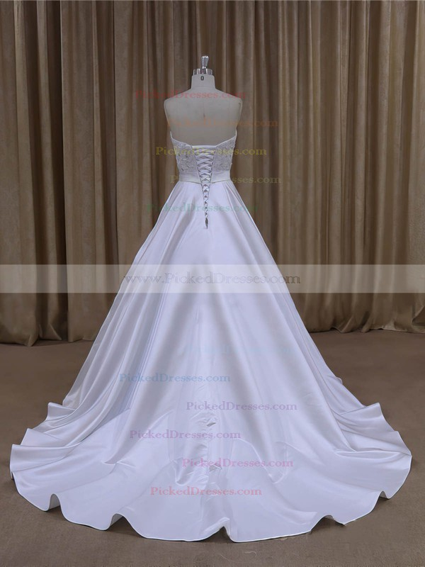 Wholesale Sweetheart Satin Beading Court Train White Wedding Dresses #PDS00022068
