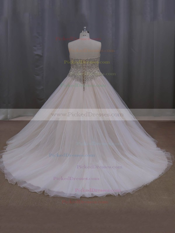 Sweetheart Tulle Crystal Detailing Court Train Fashion Champagne Wedding Dresses #PDS00022069