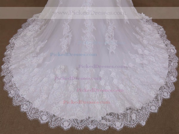 White Tulle Trumpet/Mermaid with Appliques Lace Long Sleeve Wedding Dresses #PDS00022071