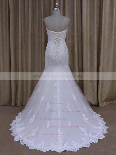Ivory Sweep Train Tulle Appliques Lace Trumpet/Mermaid New Wedding Dresses #PDS00022072
