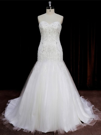 New Arrival Sweetheart Tulle Beading Ivory Trumpet/Mermaid Wedding Dresses #PDS00022073