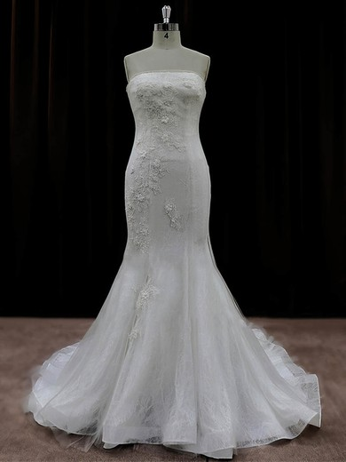 Fashion Tulle Appliques Lace Trumpet/Mermaid Ivory Strapless Wedding Dresses #PDS00022074