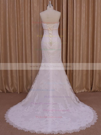 Trumpet/Mermaid Ivory Tulle Appliques Lace New Style Strapless Wedding Dresses #PDS00022075
