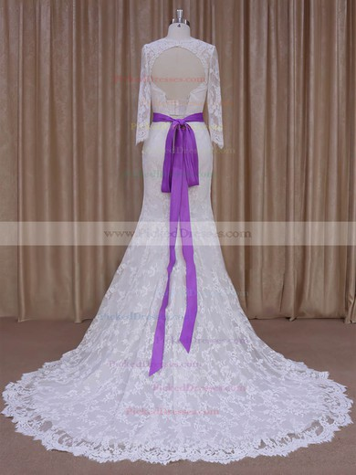 Lace with Sashes/Ribbons Ivory Trumpet/Mermaid Long Sleeve Wedding Dresses #PDS00022076