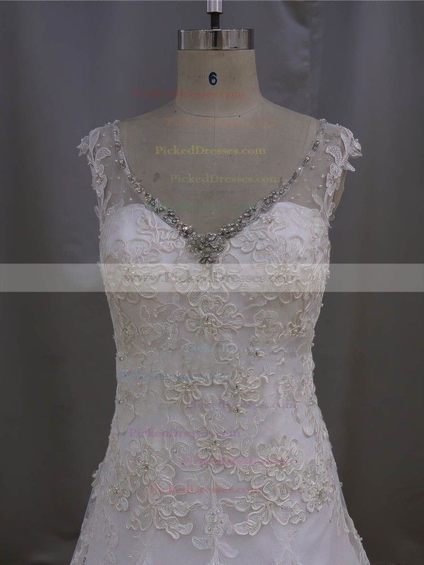 V-neck Ivory Tulle Appliques Lace Court Train Fashionable Wedding Dresses #PDS00022077