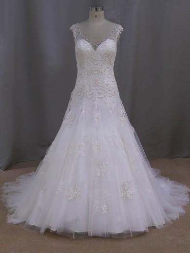 V-neck Ivory Tulle Appliques Lace Court Train Fashionable Wedding Dresses #PDS00022077