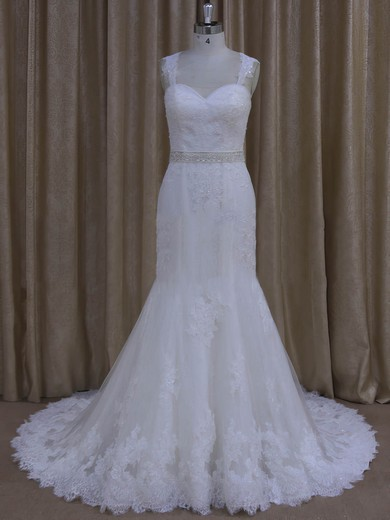 Trumpet/Mermaid Tulle Appliques Lace Ivory Sweetheart Open Back Wedding Dresses #PDS00022078
