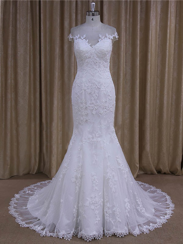 Trendy Scoop Neck Tulle Appliques Lace Trumpet/Mermaid White Wedding Dresses #PDS00022080