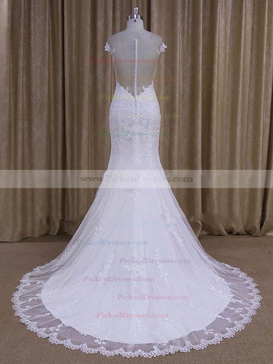 Trendy Scoop Neck Tulle Appliques Lace Trumpet/Mermaid White Wedding Dresses #PDS00022080
