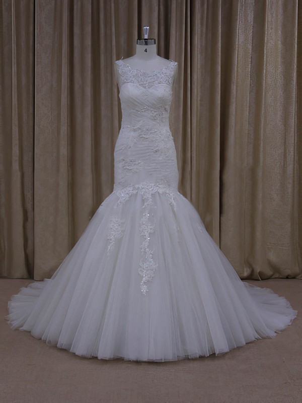 Ivory Tulle Sweep Train Appliques Lace Popular Trumpet/Mermaid Wedding Dresses #PDS00022081