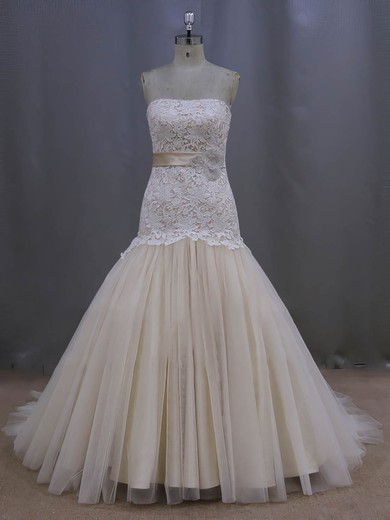 Gorgeous Strapless Champagne Lace Tulle Sashes/Ribbons Trumpet/Mermaid Wedding Dresses #PDS00022082