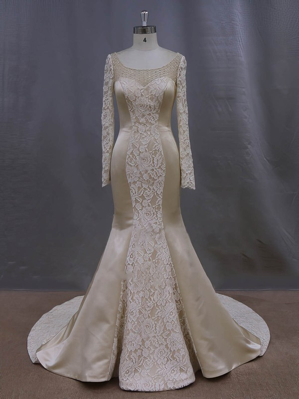 Luxurious Trumpet/Mermaid Scoop Neck Champagne Lace Satin Long Sleeve Wedding Dresses #PDS00022083